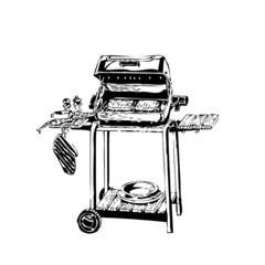 barbecue, piquenique, illustration