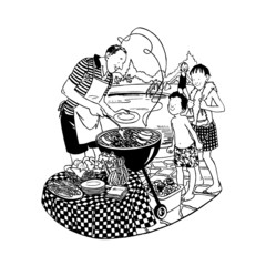 barbecue, piquenique, illustration