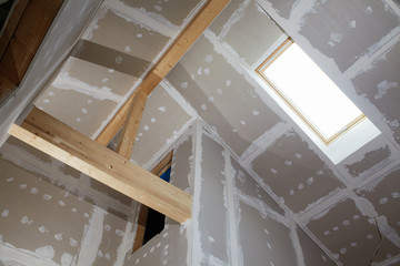 looking up in a building fabric with gypsum plaster boards