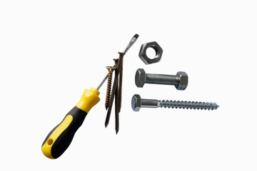 Assorted screws nuts, bolts, nails and screwdriver