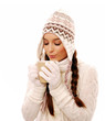 Girl with hot beverage