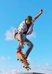 skateboarder hand up