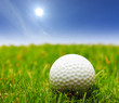 A golf ball on a green grass and a blue sky
