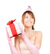 party girl with gift box