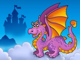 Big purple dragon near castle-
