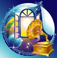 Gramophone, romantic retro music