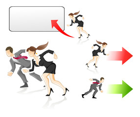 Businesswoman and businessman rushing