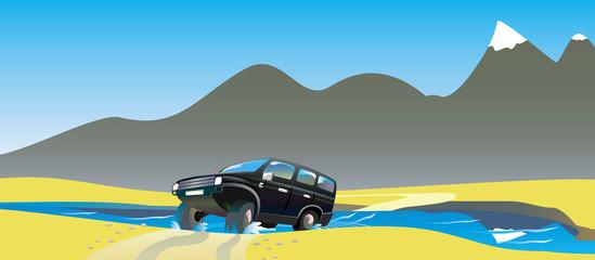 Off-road car drives in desert. Vector illustration.