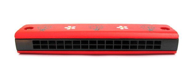 Harmonica mouth organ red for children