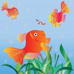 Small fishes look at a worm on a hook. Vector illustration