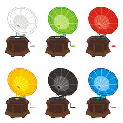 fully editable vector illustration of colored gramophones