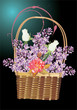 full basket of lilac and rose flowers