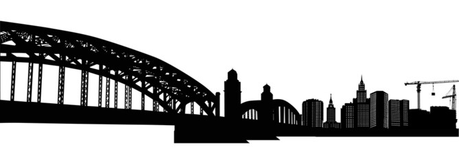 long arched bridge illustration