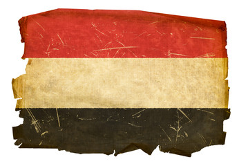 Yemeni flag old, isolated on white background
