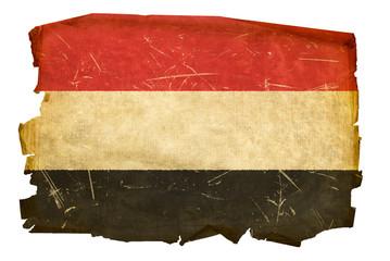 Yemeni flag old, isolated on white background