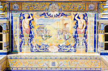 tile painting, Spanish Square, Seville, Andalusia, Spain