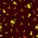 Seamless stinging insect background poster