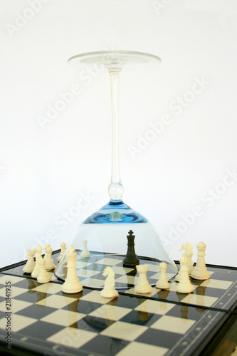 Black king of the chess game protected by a globet