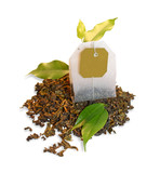 Tea bag with leaves isolated