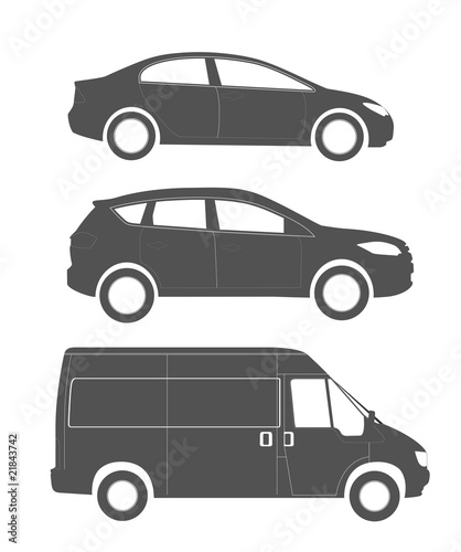 Set of silhouettes of the modern cars