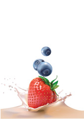 blueberries, strawberries and milk