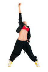 Active hip-hop dancer on white