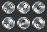 Health Hospital Icons on Metal Internet Button