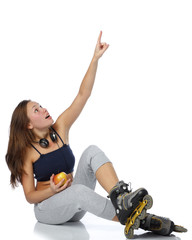 The beautiful girl in rollerskates