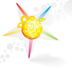 vector star symbol with disco ball