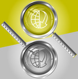 Globe and array down. Vector magnifying glass. poster