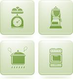 Olivine Square 2D Icons Set: Kitchen Utensils poster