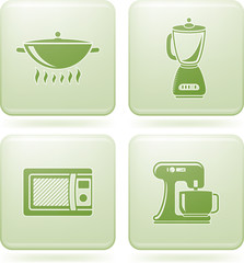 Olivine Square 2D Icons Set: Kitchen utensils