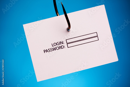 poster of login and password on hook