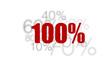 100% - cent pourcent rouge sur fond blanc et chiffres gris
