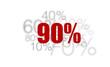90% - cent pourcent rouge sur fond blanc et chiffres gris