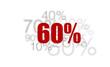 60% - pourcent rouge sur fond blanc et chiffres gris