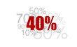40% - pourcent rouge sur fond blanc et chiffres gris