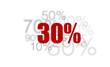 30% - pourcent rouge sur fond blanc et chiffres gris