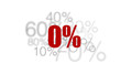 0% - zéro pourcent rouge sur fond blanc et chiffres gris