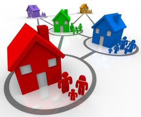 Connected Families in Neighborhoods