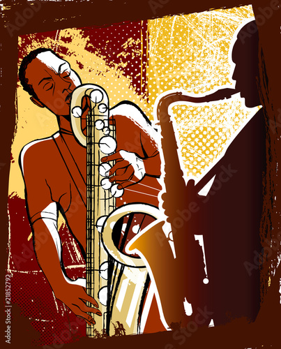 saxophonists on a grunge background