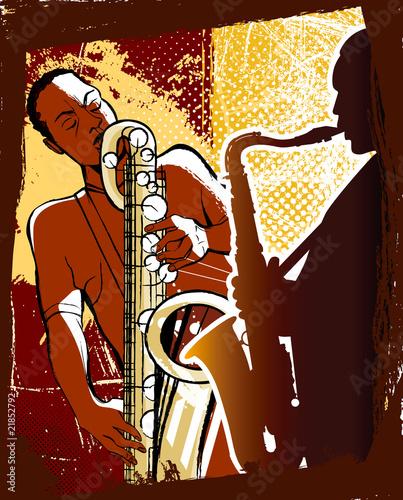 saksofonistów na tle grunge