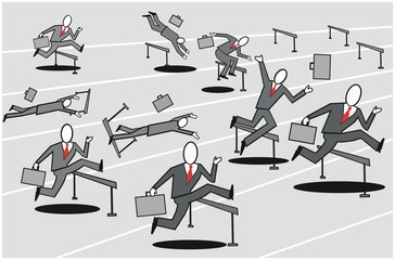 Business hurdle race cartoon