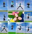 Collage: Many jumping students on the grass
