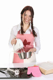 beautiful housewife preparing with kitchen mixer poster