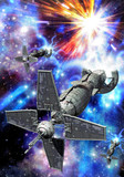 spaceship and supernova-