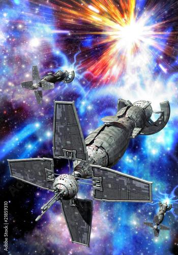 spaceship and supernova - 21859310