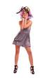 девушка в цветочной шляпе