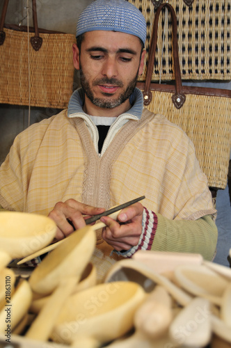 FInishing Wooden Kitchen Utensils at Market