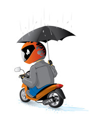 biker on the scooter with umbrella
